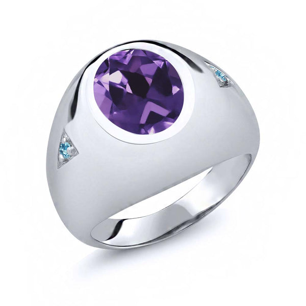 4.10 Ct Oval Amethyst Swiss Blue Simulated Topaz 925 Sterling Silver Men's Ring