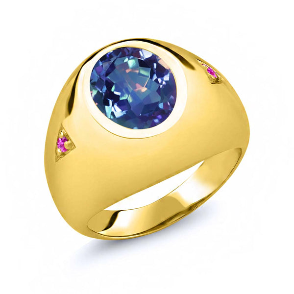 4.10 Ct Millennium Blue Mystic Quartz Pink Sapphire 18K Yellow Gold Plated Silver Men's Ring
