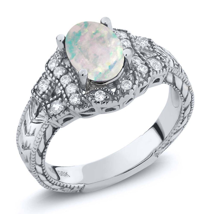 Gem Stone King 1.28 Ct Oval Cabochon White Simulated Opal 925 Sterling Silver Ring