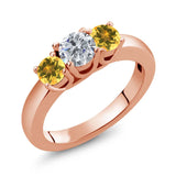 Gem Stone King 1.02 Ct Round G/H Diamond Yellow Citrine 18K Rose Gold Plated Silver Ring