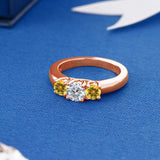 1.02 Ct Round G/H Diamond Yellow Citrine 18K Rose Gold Plated Silver Ring