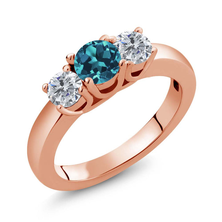 Gem Stone King 1.00 Ct Round London Blue Topaz G/H Diamond 18K Rose Gold Plated Silver Ring