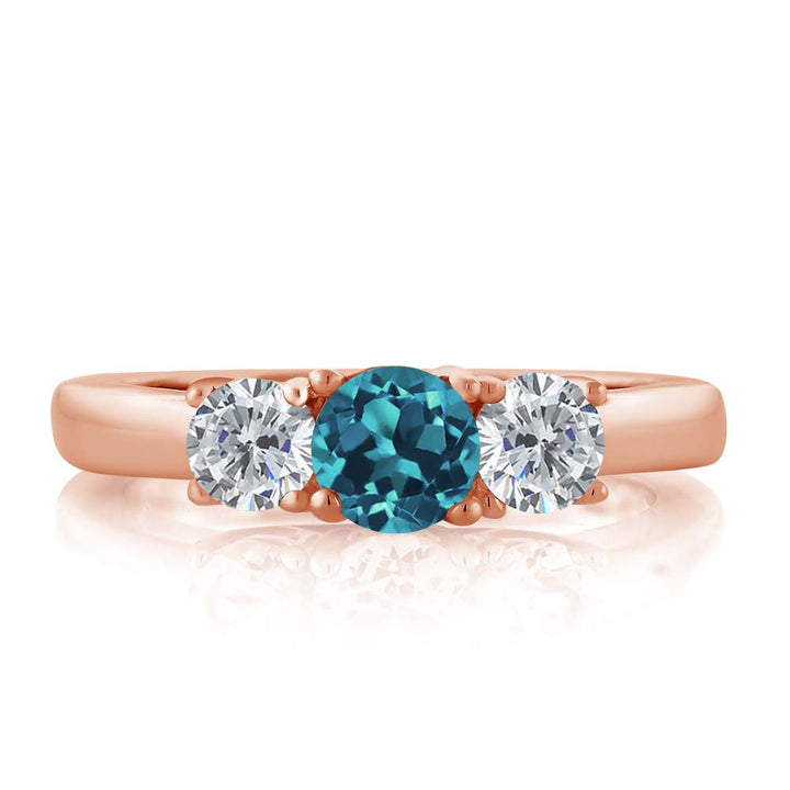 1.00 Ct Round London Blue Topaz G/H Diamond 18K Rose Gold Plated Silver Ring