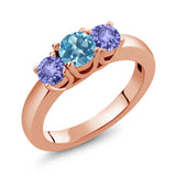 Gem Stone King 1.10 Ct Round Swiss Blue Topaz Blue Tanzanite 18K Rose Gold Plated Silver Ring