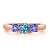 1.10 Ct Round Swiss Blue Topaz Blue Tanzanite 18K Rose Gold Plated Silver Ring