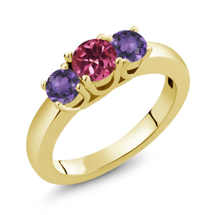 Gem Stone King 0.98 Ct Round Pink Tourmaline Purple Amethyst 18K Yellow Gold Plated Silver Ring
