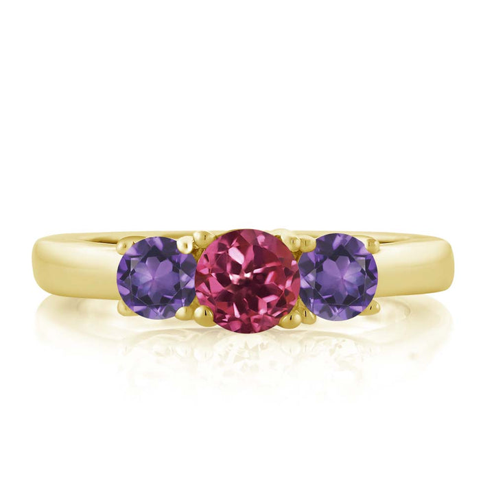 0.98 Ct Round Pink Tourmaline Purple Amethyst 18K Yellow Gold Plated Silver Ring