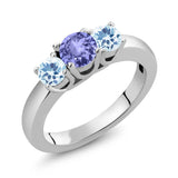 Gem Stone King 1.12 Ct Round Blue Tanzanite Sky Blue Topaz 925 Sterling Silver Ring