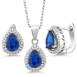 Gem Stone King 6.50 Ct Pear Shape Blue Simulated Sapphire 925 Sterling Silver Pendant Earrings Set with 18 Inch Silver Chain