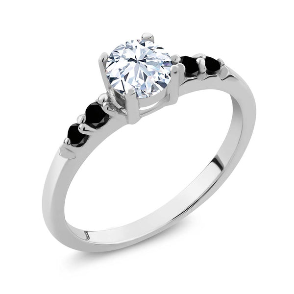 0.78 Ct Round White Topaz & Black Diamond 925 Sterling Silver Engagement Ring