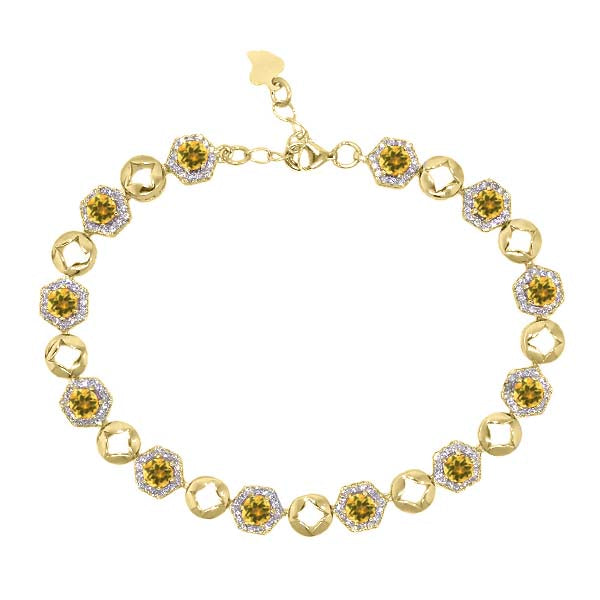5.93 Ct Round Yellow Citrine 18K Yellow Gold Plated Silver Bracelet