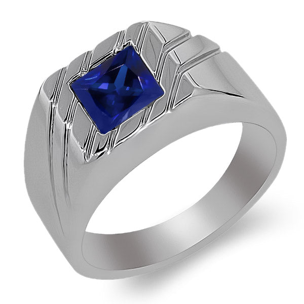 1.91 Ct Princess Blue Spinel 925 Sterling Silver Men's Ring