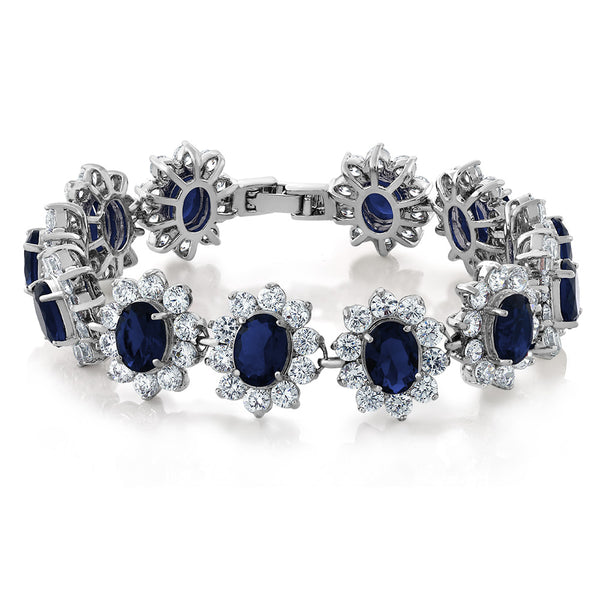 "Oval and Round Royal Blue Sapphire CZ Tennis Bracelet 7"" with Security Clasp"