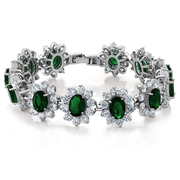 "Stunning Green Color Cubic Zirconia CZ Tennis Bracelet 7"" Security Clasp"