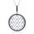 Sterling Silver Black CZ Circle Wave Pendant with 18 Inch 925 Silver Chain
