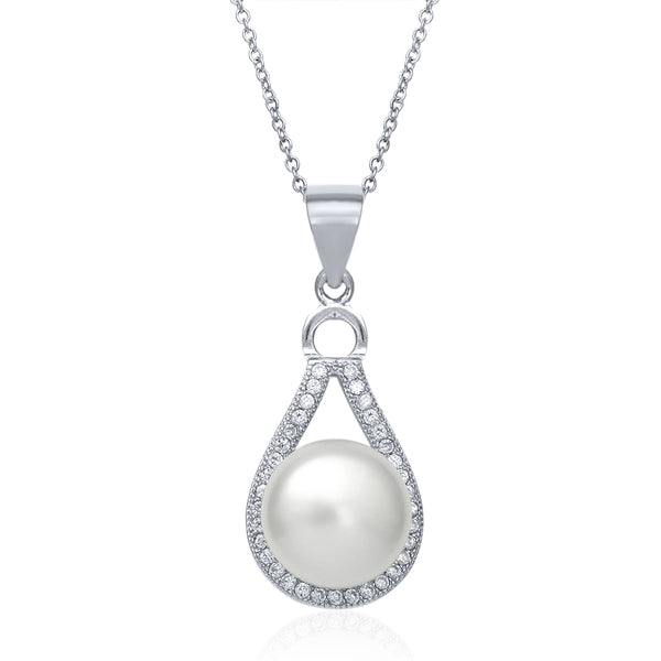 925 Silver 9mm Cultured Freshwater Pearl Pendant with Silver