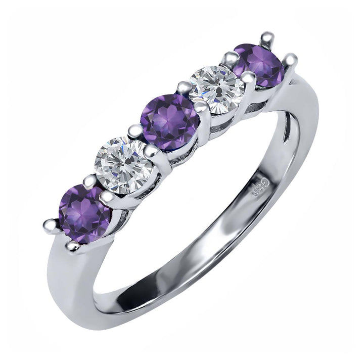 Gem Stone King 0.79 Ct Round Purple Amethyst G/H Diamond 925 Sterling Silver Ring