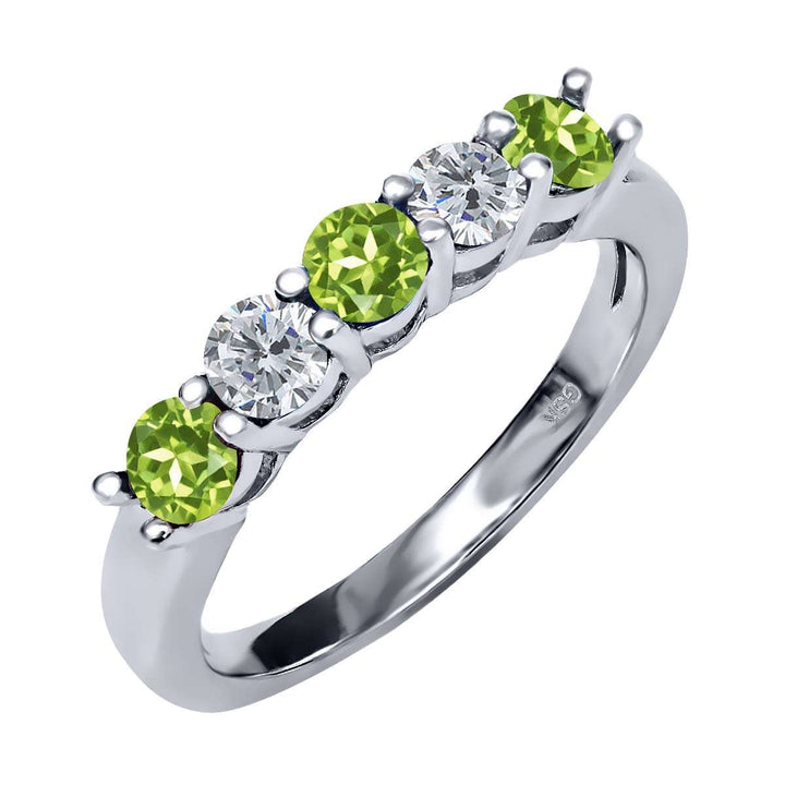 Gem Stone King 0.88 Ct Round Green Peridot G/H Diamond 925 Sterling Silver Ring
