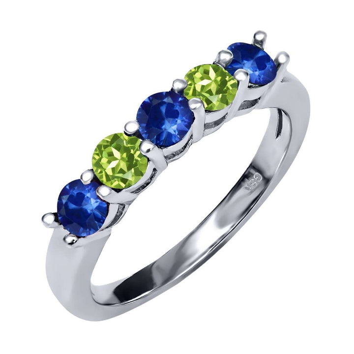 Gem Stone King 1.08 Ct Round Blue Sapphire Green Peridot 925 Sterling Silver Ring
