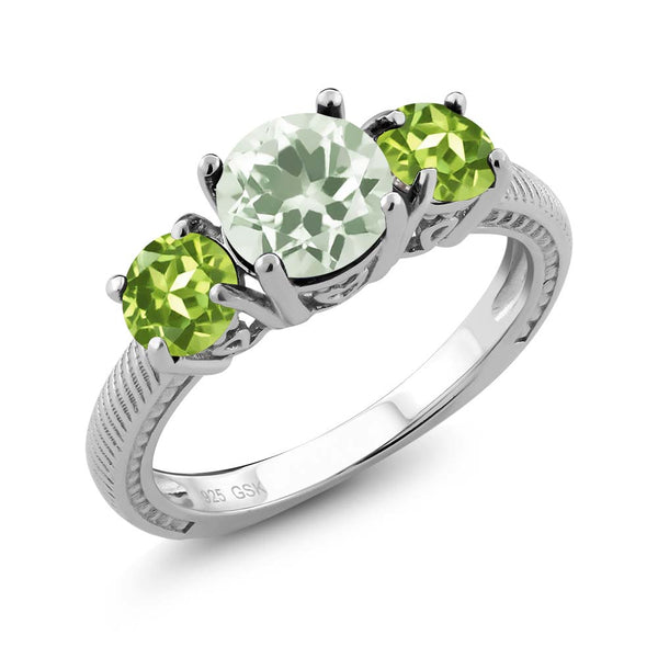 2.10 Ct Round Green Amethyst Green Peridot 925 Sterling Silver 3 Stone Ring