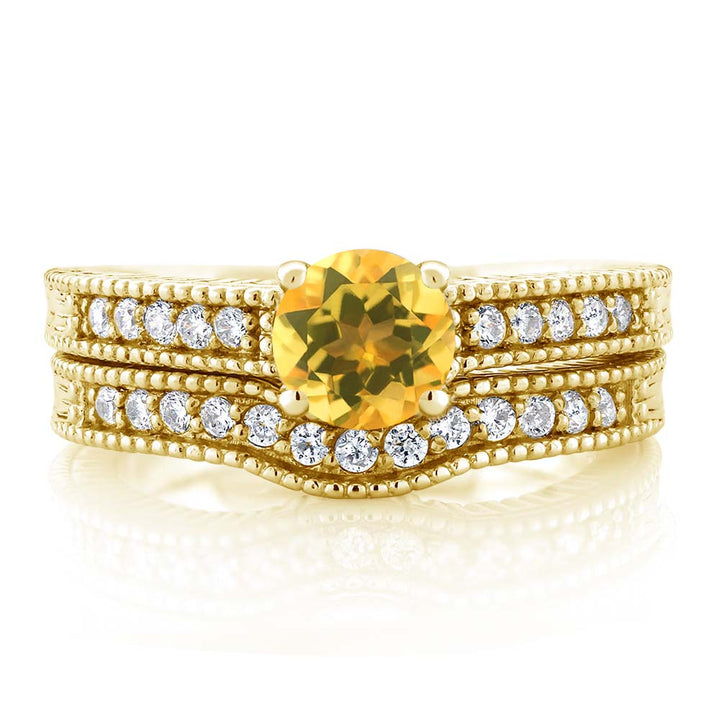 1.05 Ct Round Yellow Citrine 18K Yellow Gold Plated Silver Ring