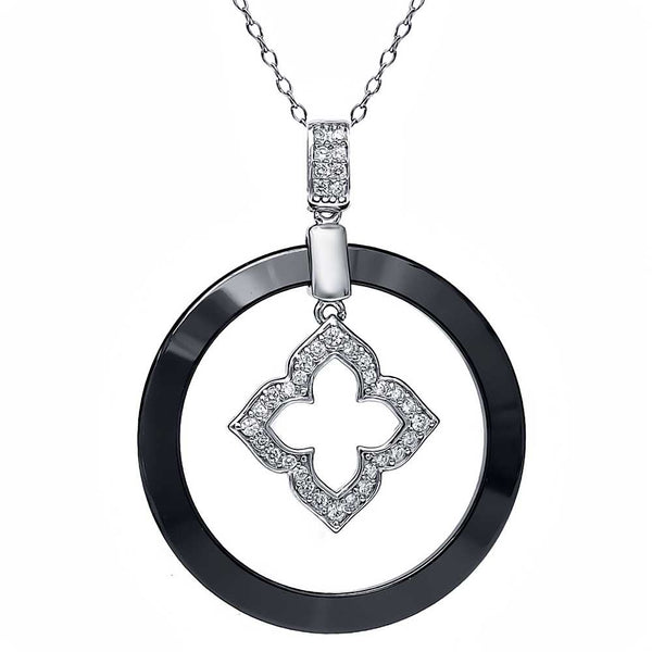 925 Silver Gorgeous Circle Ceramic Pendant with White Cubic Zirconia CZ