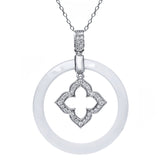 Gem Stone King Sterling Silver Gorgeous Circle Ceramic Pendant with White Cubic Zirconia CZ