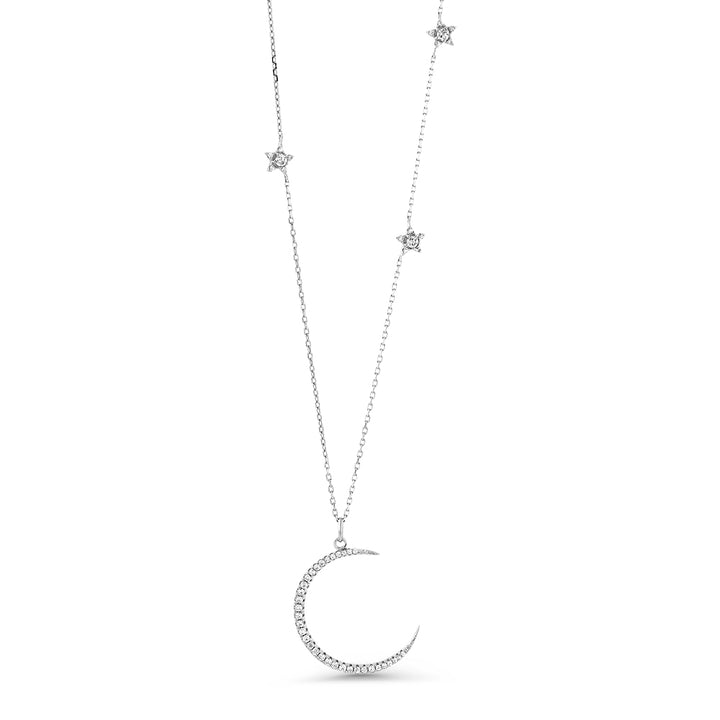 Gem Stone King Sterling Silver Half Moon and Stars Pendant Necklace with CZ Charm and Adjustable Chain Length 16 Inch - 18 Inch