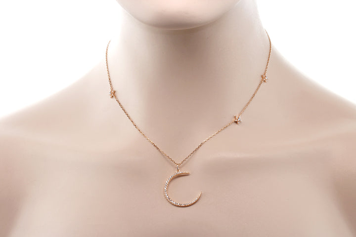 "Sterling Silver Crescent Moon and Stars Pendant Necklace with 18"" Silver Chain"