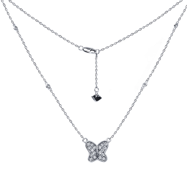 "Gem Stone King Beautiful Sterling Silver Round Zirconia Butterfly Necklace 18"" 925 Silver Chain"