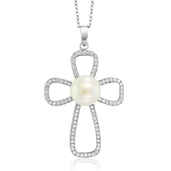 Timeless 10mm Cream Cultured Freshwater Pearl 925 Sterling Silver Cross Pendant