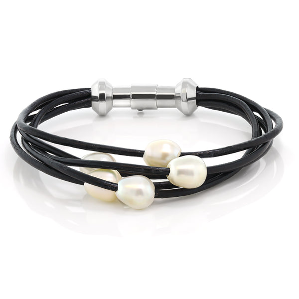 Cultured Freshwater Pearl 2 Beads Steel Magnetic Clasp Leather Bracelet