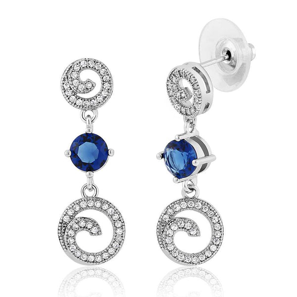 Stunning Round Blue and White Cubic Zirconia Swirl Dangle Earrings