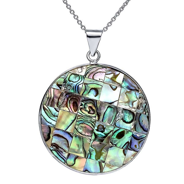 Gorgeous Multi-Color Abalone Simulated Shell Circle Pendant with 18 Inch Chain