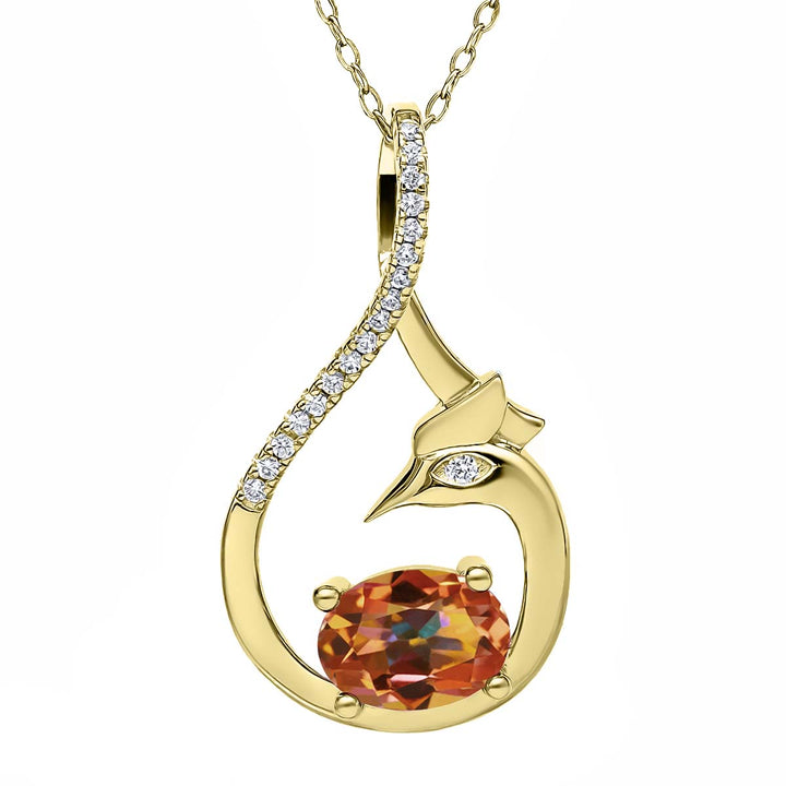 Gem Stone King 1.82 Ct Ecstasy Mystic Topaz 18K Yellow Gold Plated Silver Phoenix Pendant