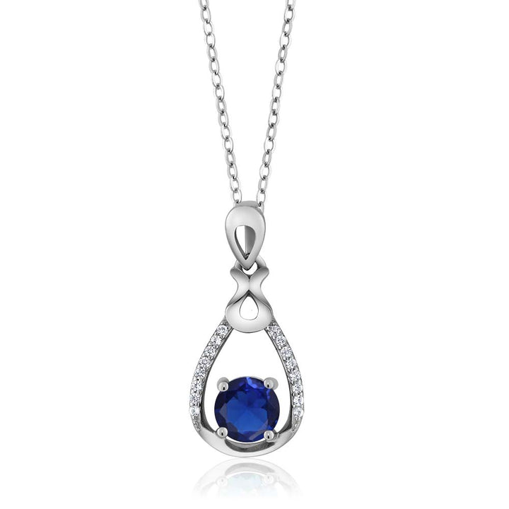 Gem Stone King Sterling Silver Round Blue Simulated Sapphire Pear Shape Pendant Necklace (0.94 cttw, With 18 Inch Silver Chain)