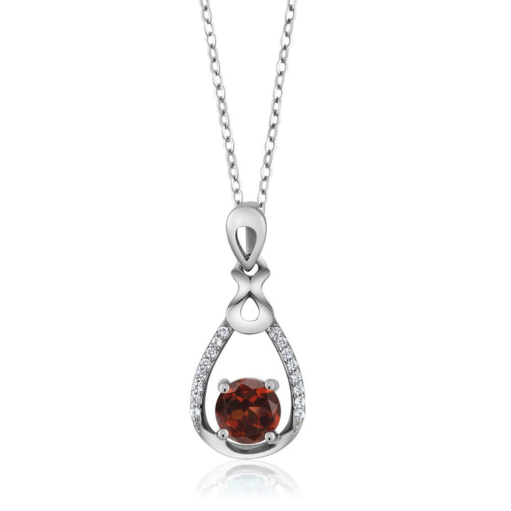Gem Stone King 1.19 Ct Round Red Garnet 925 Sterling Silver Pear Shape Pendant