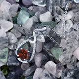 1.19 Ct Round Red Garnet 925 Sterling Silver Pendant