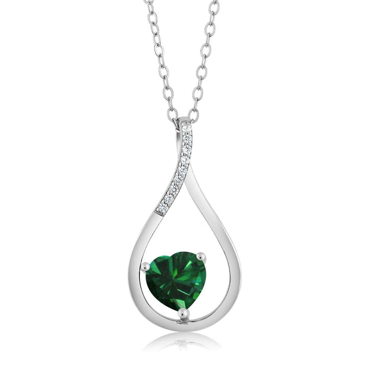Gem Stone King 0.79 Ct Heart Shape Green Simulated Emerald 925 Sterling Silver Tear Drop Pendant