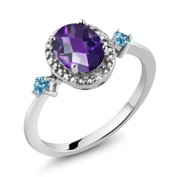 Gem Stone King 1.17 Ct Oval Amethyst and Simulated Topaz 925 Silver Ring With Accent Diamond