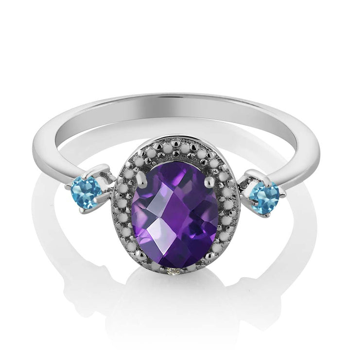 1.17 Ct Oval Amethyst and Simulated Topaz 925 Silver Ring With Accent Diamond