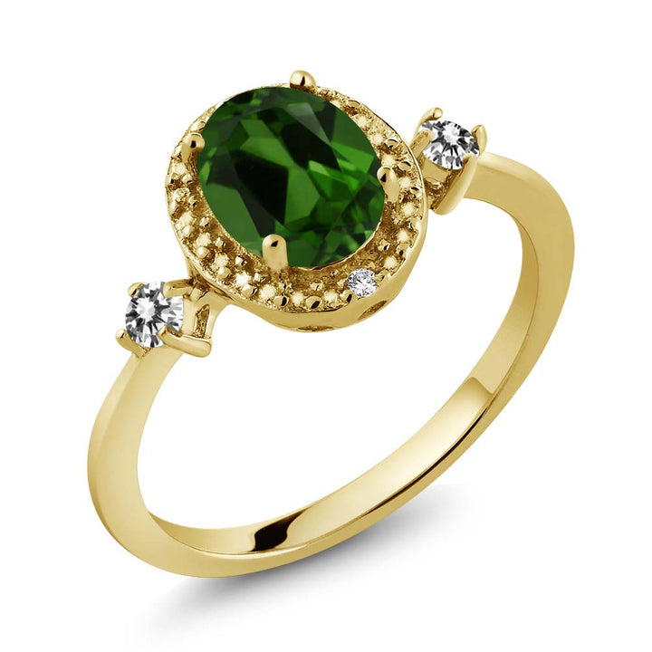 Gem Stone King 1.34 Ct Green Chrome Diopside White Diamond 18K Yellow Gold Plated Silver Ring With Accent Diamond