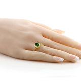 1.34 Ct Chrome Diopside 18K Yellow Gold Plated Silver Ring With Accent Diamond