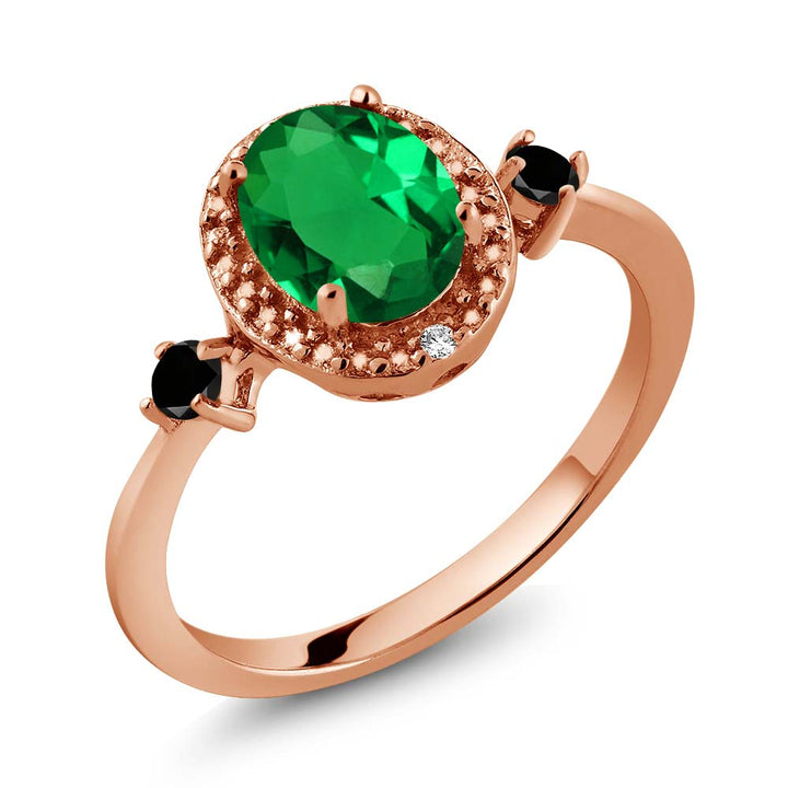 Gem Stone King 1.14 Ct Green Simulated Emerald Black Diamond 18K Rose Gold Plated Silver Ring With Accent Diamond
