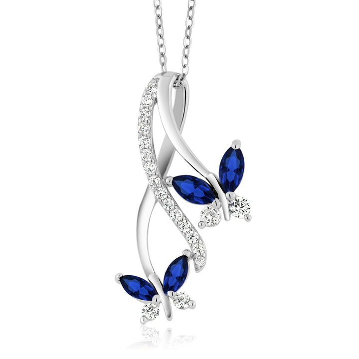 Gem Stone King 1.21 Ct Marquise Blue Created Sapphire 925 Sterling Silver Butterfly Infinity Pendant