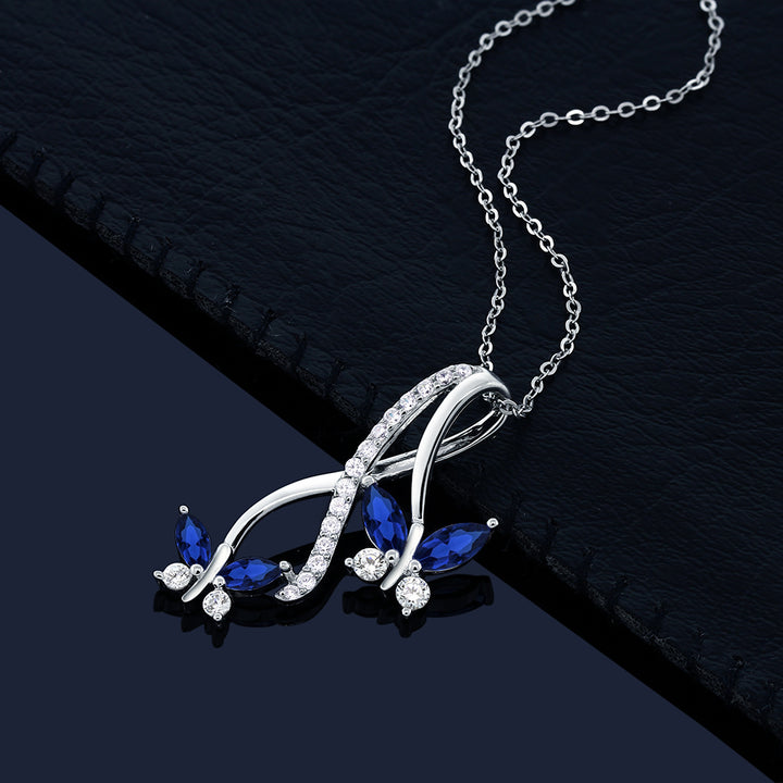 1.21 Ct Marquise Created Sapphire 925 Sterling Silver Butterfly Infinity Pendant