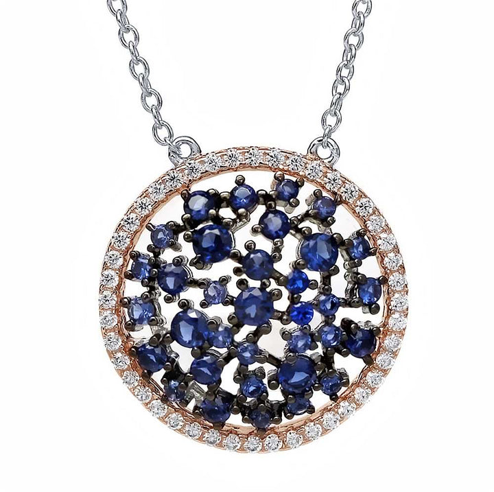"Gem Stone King Sterling Silver Simulated Blue Sapphire Wheel Pendant with 18"" Silver Chain"