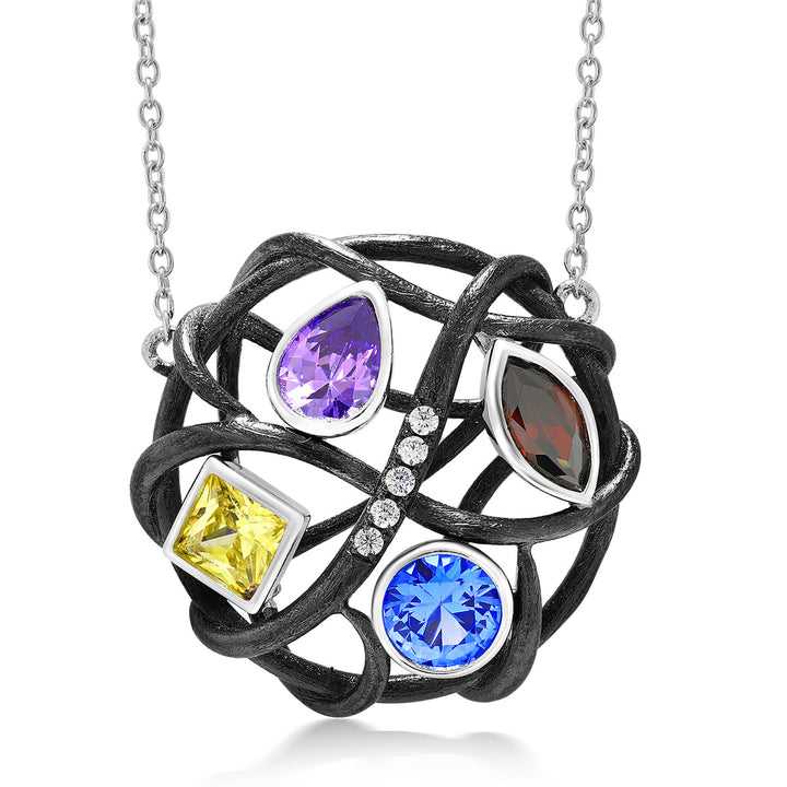 Gem Stone King Sterling Silver Multi-Color CZ Openwork Twist Circle Women's Pendant Necklace With 18 Inch Silver Chain