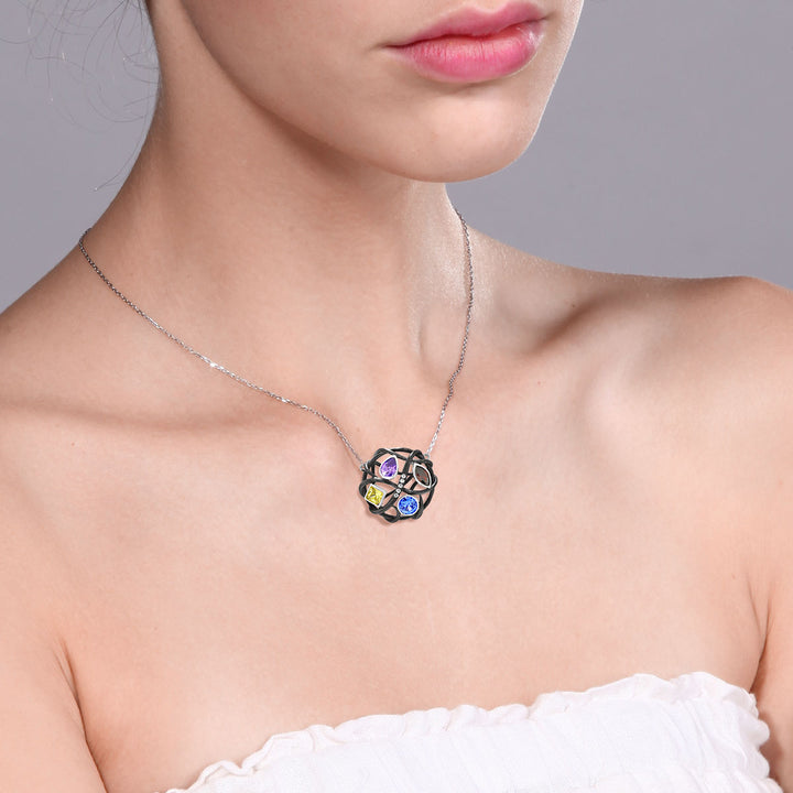 "Women's 925 Silver Multi-Color CZ Openwork Twist Circle Pendant 18"" Silver Chain"