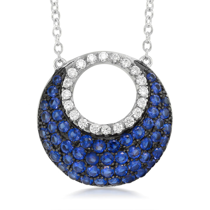 Gem Stone King Sterling Silver with Blue and White Created Sapphire Pendant on 18 Inch Silver Chain